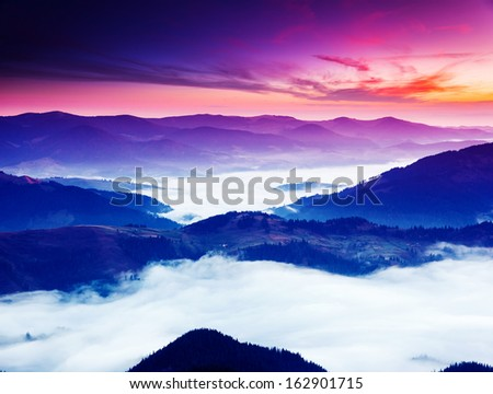 Fantastic morning mountain landscape. Overcast colorful sky. Carpathian, Ukraine, Europe. Beauty world. #162901715