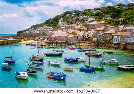 Mousehole village and fishing port in Cornwall, England, United Kingdom. Mousehole lies within the Cornwall Area of Outstanding Natural Beauty #1629040087