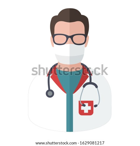 vector icon doctor in medical mask avatar. Image doctor in mask avatar. Illustration character man medic in medical mask in flat style