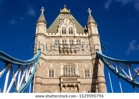 A close up of a tower of the Tower Bridge #1629090796