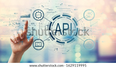 API - application programming interface concept API concept with hand pressing a button on a technology screen