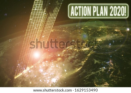 Text sign showing Action Plan 2020. Conceptual photo proposed strategy or course of actions for current year Elements of this image furnished by NASA. #1629153490