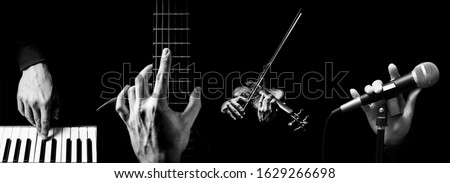 four parts of musician hands playing musical instrument. music background #1629266698