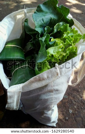 Organic tempeh, organic lettuce andk kailan in my own cloth bag. #1629280540