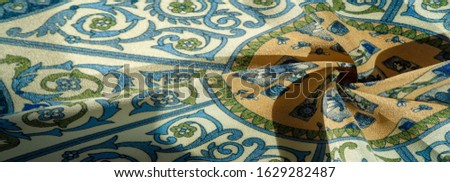 Texture background pattern postcard, silk fabric, moderate calm colors, royal monogram pattern, blue steel green brown colors on fabric. your design will be steeped in the spirit of the Middle Ages #1629282487