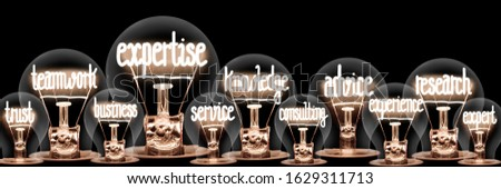 Group of light bulbs with shining fibers in a shape of Expertise, Teamwork, Advice, Knowledge and Research concept related words isolated on black background; horizontal composition #1629311713