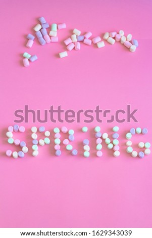 Lettering spring season marshmallow for greeting card, invitation template. template background #1629343039