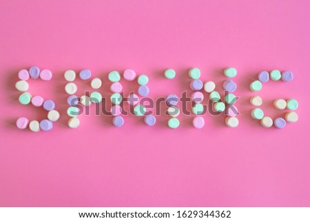 Lettering spring season marshmallow for greeting card, invitation template. template background #1629344362