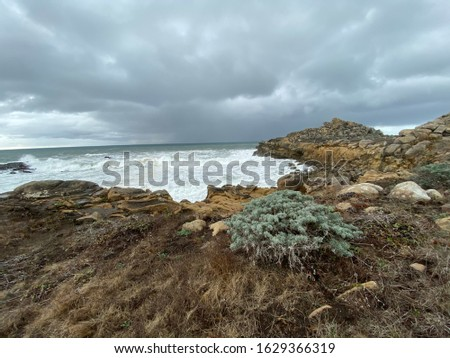 Rocky shoreline along Highway 1 in Northern California at Salt Point State Park with waves crashing  #1629366319