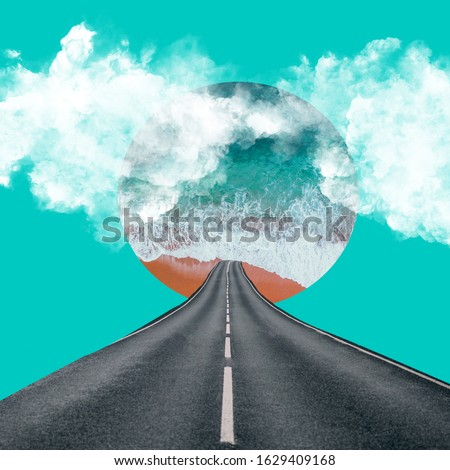 Abstract collage art. Blue sea, road, clouds. Royalty-Free Stock Photo #1629409168
