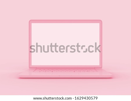 Laptop pink color on pink backgrounds. Minimal valentine concept .Object mockup 3D rendering. screen clipping path.