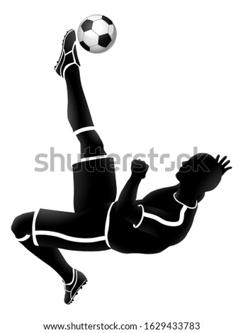 A soccer football player jump kicking a ball silhouette sports illustration