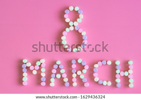 Lettering spring season women's day concept marshmallow for greeting card, invitation template. template background #1629436324