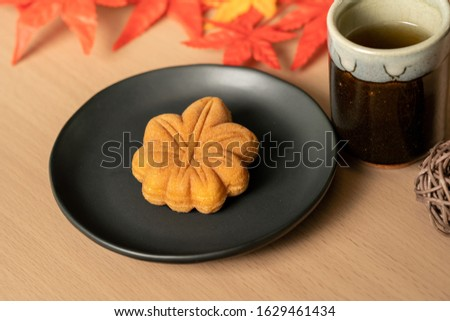 Maple autumn sweets cup dessert tea time Japanese sweets japan Royalty-Free Stock Photo #1629461434