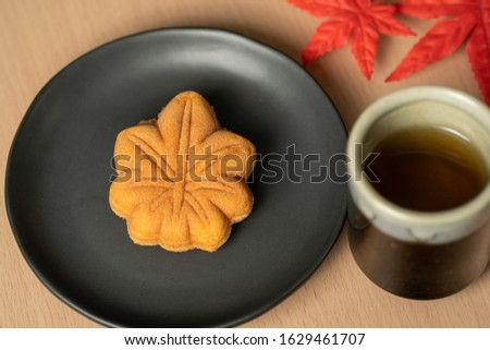 Maple autumn sweets cup dessert tea time Japanese sweets japan Royalty-Free Stock Photo #1629461707