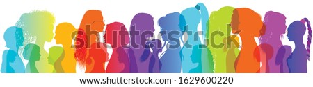 Silhouette group of multiethnic women who talk and share ideas and information. Women social network community. Communication and friendship between women or girls of diverse cultures Royalty-Free Stock Photo #1629600220
