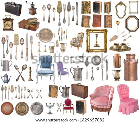 Set of a huge amount gorgeous old vintage items. Old dishes, appliances, kettles, chairs, books, coffee grinder, candlesticks, picture frames. Isolated on white background.