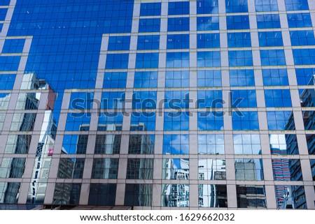 Paulista Avenue buildings, reflect on glass facade. Corporate neighbourhood, metropolis concept.  #1629662032