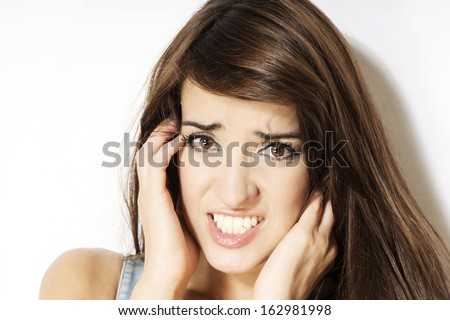 beautiful woman looking frustrated #162981998