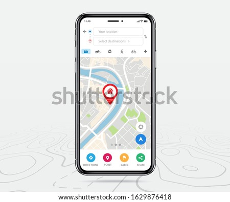 Mobile map gps, Smartphone map application and red pinpoint on screen, App search map navigation, isolated on line maps background, Vector illustration for graphic design #1629876418