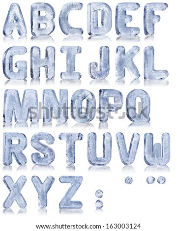 frozen water in the shape of the alphabet Royalty-Free Stock Photo #163003124