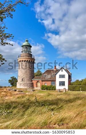 Hammeren Lighthouse (Hammeren Fyr) deactivated in 1990, located on the Hammeren peninsula on the northwestern tip of Bornholm island, Denmark.