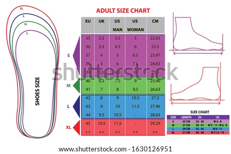 set of shoes chart size or socks chart size or measurement foot chart concept. Eps 10 vector, easy to modify