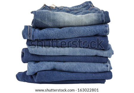 lot of blue jeans isolated on white background #163022801