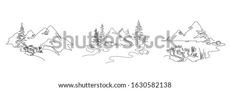 Mountain landscape, drawn in one line. Continuous line. Travels. Minimalistic graphics. Mountains and spruce. Set of illustrations. Royalty-Free Stock Photo #1630582138