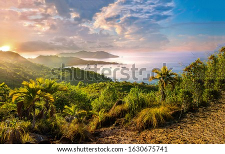 Mountain sea bay sunrise landscape. Sunrise in mountain sea bay. Sea bay sunrise. Mountain sea bay sunrise view #1630675741