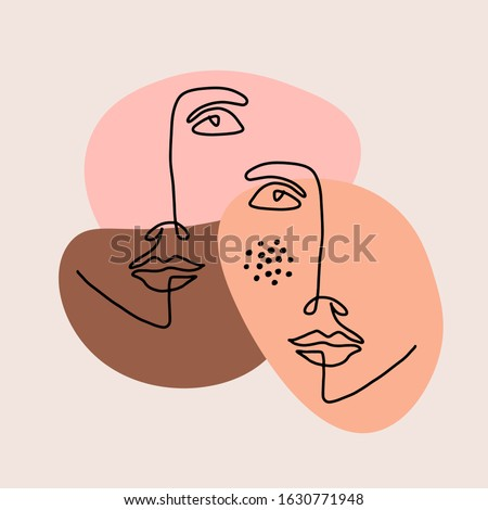 Abstract line art face, modern contemporary minimalist woman portrait. Young girl hand drawn character. Vector abstract illustration. Shape collage digital artwork