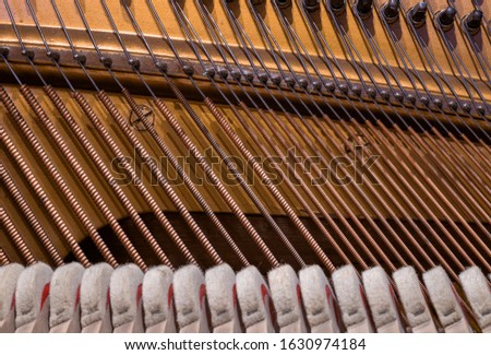 Inside the piano - button and string settings. Beautiful lines of strings, parallels. #1630974184