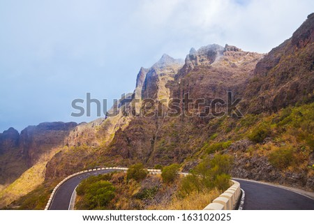 Famous canyon Masca in fog at Tenerife island - Canary Spain #163102025