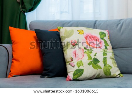decorative pillows decorating the interior of the living room create comfort in the house, comfort on the sofa #1631086615