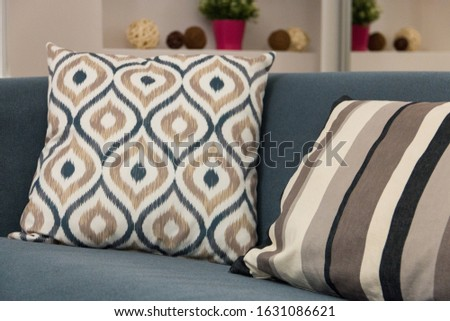 decorative pillows decorating the interior of the living room create comfort in the house, comfort on the sofa #1631086621