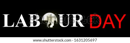 Photo Illustration, may day, Long Hour Overtime, Silhouette of Mini Figure Labour Toy Loading or Unloading Container in the midnight, with big full moon  #1631205697