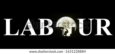 Photo Illustration, may day, Long Hour Overtime, Silhouette of Mini Figure Labour Toy Loading or Unloading Container in the midnight, with big full moon  #1631228884