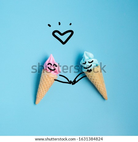 Emotion cartooning of colorful sweet ice cream cone isolated on blue pastel background ,holiday and relax concept