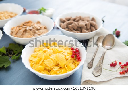 Bowls of various cereals and milk from top view Breakfast cereal mix: cornflakes, pads, muesli, multigrain flakes and chocolate balls #1631391130