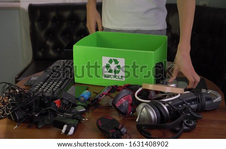 E-waste management. Recycle and dispose of household hazardous materials. Electronic waste, discarded electrical or electronic devices, mobiles, computers, laptops #1631408902