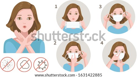 woman gag with worry gesture. Healthy of female wear protective mask against infectious diseases and flu. Stop the infection. Health care concept. Vector illustration isolated on white. #1631422885