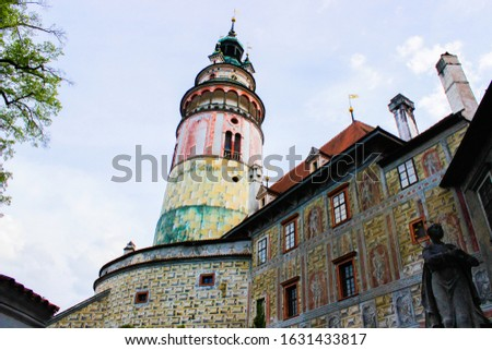 Picture of the Castle Tower from the patio of State Castle, the most famous symbol of Cesky Krumlov, Czech Republic