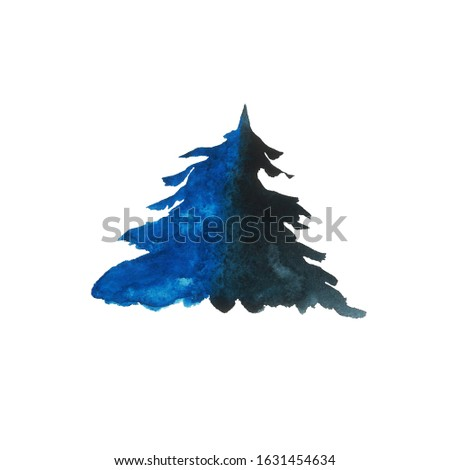Blue winter lush spruce isolated on white background. Watercolor hand drawn illustration. Pine or fire tree, or cedar with splash, stains. Clip art for logo, label, greeting cards.