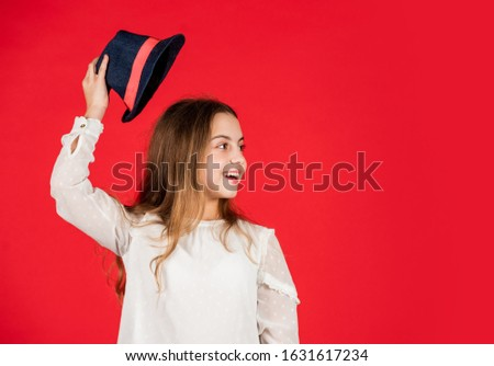 Protect scalp sun rays. Fancy girl. Spring outfit. Individual style. Girl wear hat red background. Happy kid in hat. Fashion accessory. Summer accessory collection. Child wear hat. Accessories shop. #1631617234