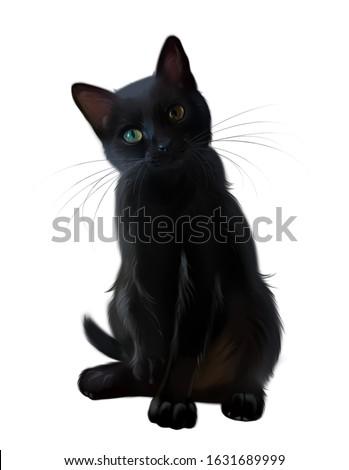 Black cat. Portrait. Watercolor drawing
