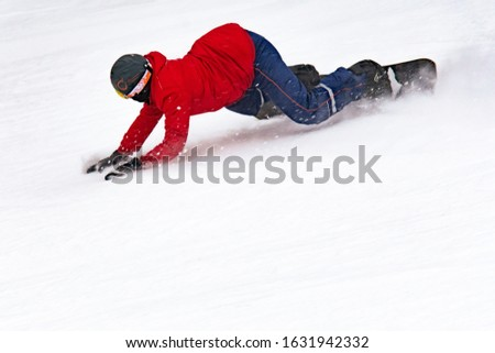 young man in a red jacket snowboarding, winter sports, winter entertainment. selective focus, extreme #1631942332