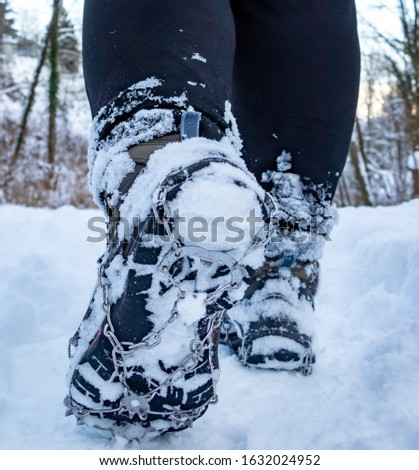 Winter hiking with the use of traction device for shoes #1632024952