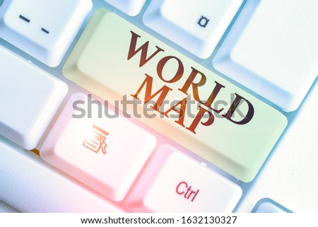 Text sign showing World Map. Conceptual photo a diagrammatic representation of the surface of the earth. #1632130327