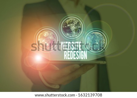 Text sign showing Website Redesign. Conceptual photo modernize improver or evamp your website look and feel Elements of this image furnished by NASA. #1632139708