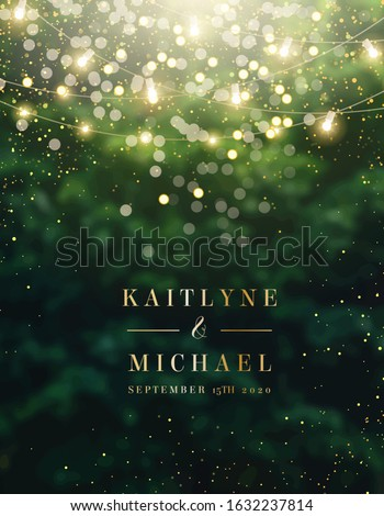 Emerald greenery forest foliage vector background. Green garden trees wedding invitation. Summer leaves card texture. Bokeh lights art.Rustic style save the date.Elegant outdoor party template garland Royalty-Free Stock Photo #1632237814